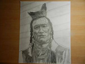 Native American in pencil